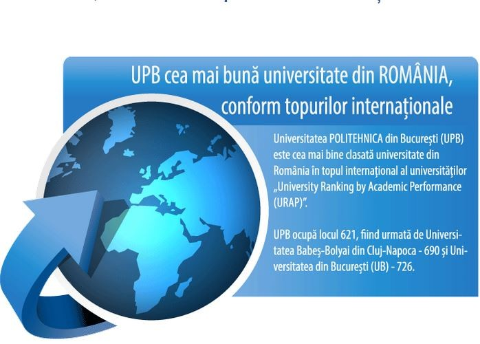 UPB cea mai bună universitate din ROMÂNIA, conform topurilor internaționale