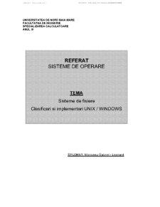 Sisteme de Fisiere - Clasificari si implementari UNIX-WINDOWS - Pagina 1