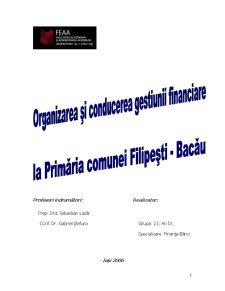 Organizarea si Conducerea Gestiunii la Primaria Filipesti - Bacau - Pagina 1