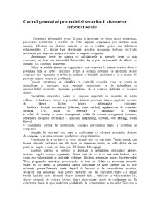 Cadrul General al Protectiei si Securitatii Sistemelor Informationale - Pagina 1