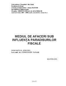 Mediul de Afaceri sub Influența Paradisurilor Fiscale - Pagina 2