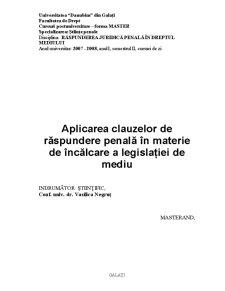 Aplicarea Clauzelor de Răspundere Penală în Materie de Încălcare a Legislației de Mediu - Pagina 2