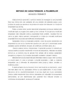 Metoda de Caracterizare a Polimerilor - Analiza Termica - Pagina 1