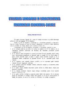 Utilizare Sondajului în Caracterizarea Fenomenelor Economico-Sociale - Pagina 1