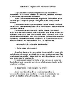 Dobandirea  si pierderea  cetateniei romane - Pagina 1