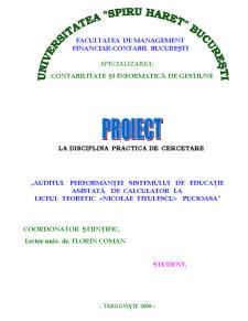 Auditul Performantei Sistemului de Educatie Asistata de Calculator la Liceul Teoretic Nicolae Titulescu - Pucioasa - Pagina 1