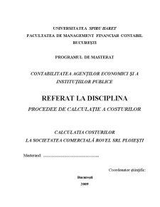 Calculatia Costurilor la Societatea Comercială Rovel SRL Ploiești - Pagina 1