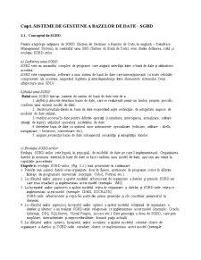 SGBD-ul și Bazele de Date ORACLE - Pagina 2