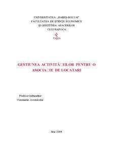Gestiunea Activitatilor pentru o Asociatie de Locatari - Pagina 1