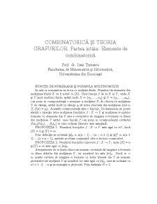 Combinatorica si Teoria Grafurilor. Partea intia: Elemente de Combinatorica - Pagina 1