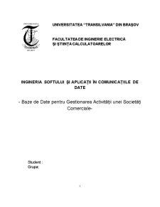 Baze de Date pentru Gestionarea Activității unei Societăți Comerciale - Pagina 1