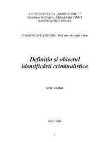 Definiția și Obiectul Identificării Criminalistice - Pagina 1