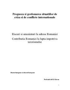 Riscuri si Amenintari la Adresa Romaniei - Contributia Romaniei la Lupta Impotriva Terorismului - Pagina 1