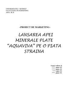 Lansarea unui Produs Nou pe o Piata Straina - Pagina 1
