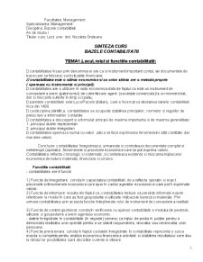 Sinteza Curs Bazele Contabilitatii - Pagina 1