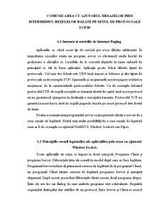 Comunicarea cu Ajutorul Mesajelor prin Intermediul Retelelor Bazate pe Setul de Protocoale Tcp-Ip - Pagina 1