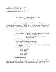 Clasificarea Tesuturilor Vegetale dupa Forma si Grad de Diferentiere Celulara - Pagina 1