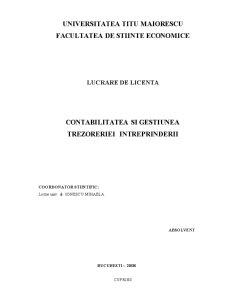 Contabilitatea si Gestiunea Trezoreriei Intreprinderii - Pagina 1