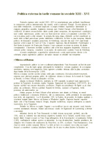 Politica Externa in Tarile Romane in Secolele XIII-XVI - Pagina 1