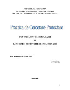 Contabilitatea Dizolvarii si Lichidarii Societatilor Comerciale - Pagina 1