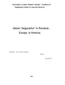 Istoria Asigurarilor in Romania, Europa si America - Pagina 1
