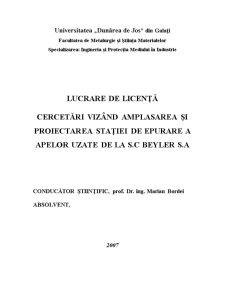 Proiectarea unei Statii de Epurare a Apelor Uzate de la SC Beyler SA Galati - Pagina 1