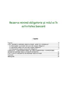 Rezerva Minimă Obligatorie și Rolul ei în Activitatea Bancară - Pagina 1