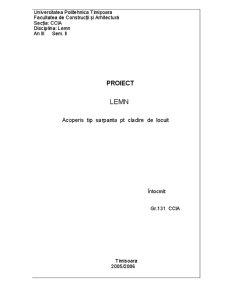 Proiect Lemn - Acoperis Tip Sarpanta pentru Cladire de Locuit - Pagina 1