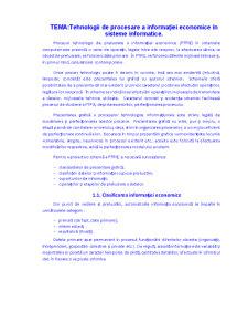 Tehnologii de Procesare a Informației Economice în Sisteme Informatice - Pagina 1