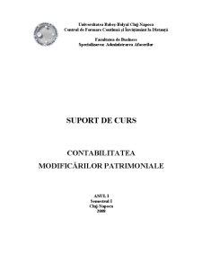 Contabilitatea Modificărilor Patrimoniale - Pagina 1