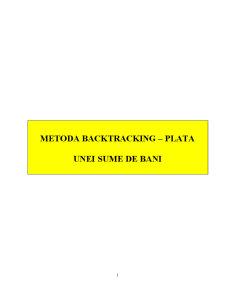 Metoda Backtracking - Plata Unei Sume de Bani - Pagina 1