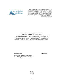 Biotehnologia de Obținere a Iaurtului cu Adaos de Legume - Pagina 2