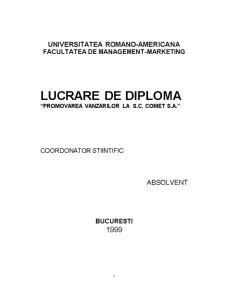 Promovarea Vanzarilor la SC Comet SA - Pagina 1
