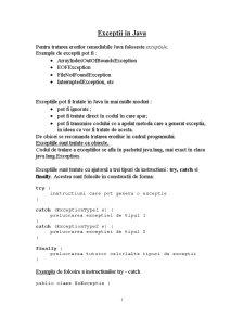 Exceptii in Java - Pagina 1