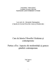 Istoria Filosofiei Moderne și Contemporane - Pagina 1
