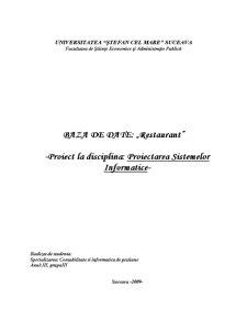 Programarea Sistemelor Informatice - Baze de Date - Restaurant - Pagina 1