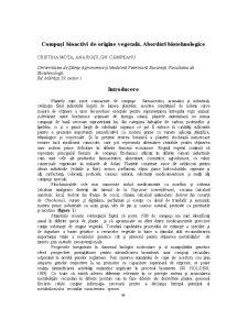 Compusi Bioactivi de Origine Vegetala - Abordari Biotehnologice - Pagina 1