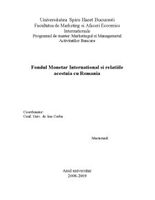 Fondul Monetar International si Relatiile acestuia cu Romania - Pagina 1