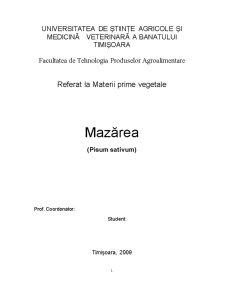 Materii Prime Vegetale - Mazarea - Pisum Sativum - Pagina 1