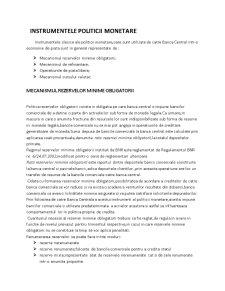 Instrumentele de Politica Monetara - Pagina 1