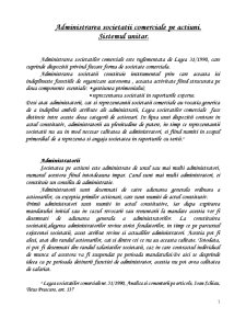 Administrarea Societatii Comerciale pe Actiuni - Sistemul Unitar - Pagina 1