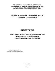 Evaluarea Riscului de Accidentare sau Imbolnavire Profesionala la SC Amonil SA Slobozia - Pagina 1