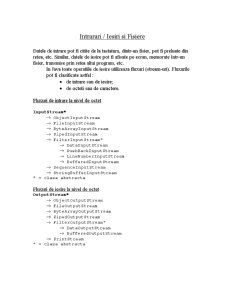 IO si Fisiere in Java - Pagina 1