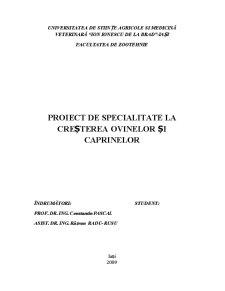 Elaborarea Proiectului Tehnologic pentru o Fermă de Producție cu Ovine Situată în Zonă de Deal - Pagina 1