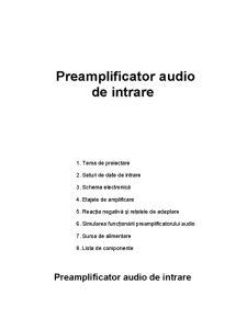 Preamplificator Audio de Intrare - Pagina 1