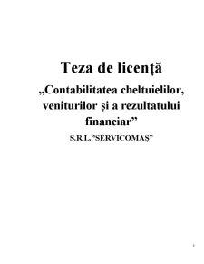 Contabilitatea Cheltuielilor, Veniturilor și a Rezultatului Financiar SRL Servicomas - Pagina 1
