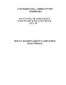 Rolul Manipulării în Campaniile Electorale - Pagina 1