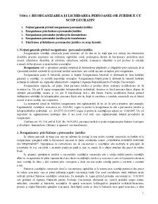 Reorganizarea și Lichidarea Persoanelor Juridice cu Scop Lucrativ - Pagina 1