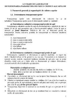 Determinarea Parametrilor Fizico-Chimici ale Apelor - Pagina 1