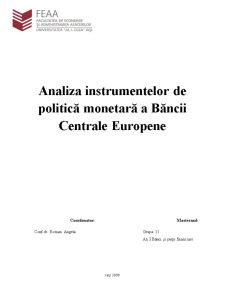 Analiza Instrumentelor de Politică Monetară a Băncii Centrale Europene - Pagina 1